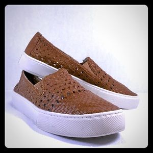 Marc Fisher Brown Woven Leather Slip On Shoes